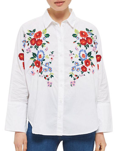 Topshop Embroidered Poplin Shirt-WHITE-UK 10/US 6