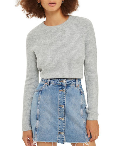 Topshop Stretch Cropped Sweater-GREY MARL-UK 10/US 6