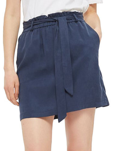 Topshop PETITE Paperbag Tie Mini Skirt-NAVY BLUE-UK 8/US 4