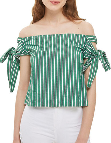 Topshop Stripe Bardot Top-GREEN-UK 16/US 12