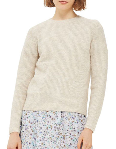 Topshop Stretch Cropped Sweater-TAUPE/BEIGE-UK 10/US 6
