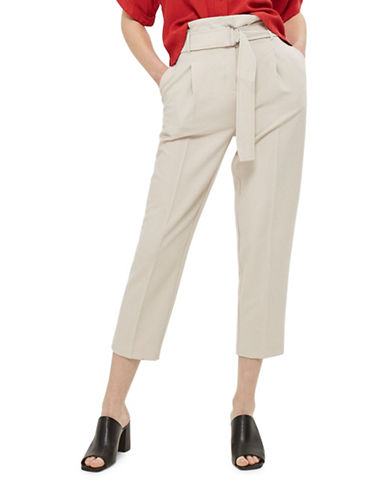 Topshop Belted Waist Peg Trousers-GREY-UK 12/US 8