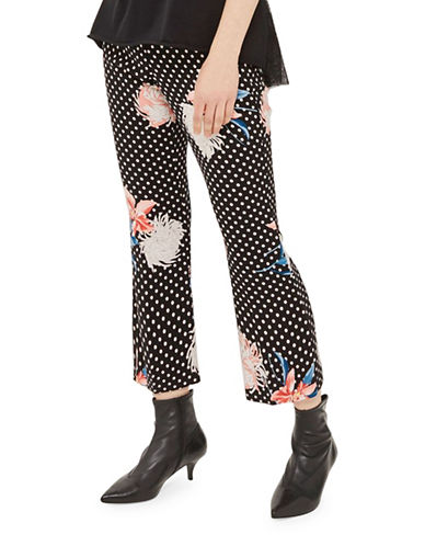 Topshop Floral-Printed Kickflare Trousers-MULTI-UK 14/US 10