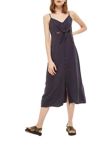 Topshop Linen-Blend Midi Slip Dress-WASHED BLACK-UK 10/US 6