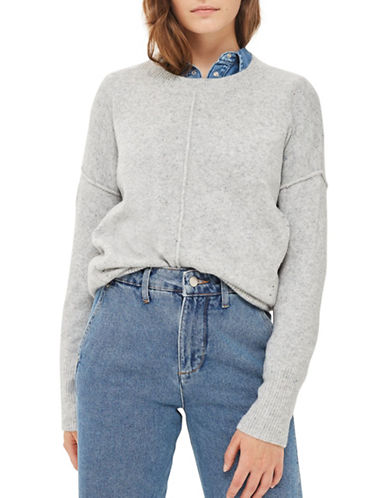 Topshop Pointelle Sweater-GREY MARL-UK 12/US 8