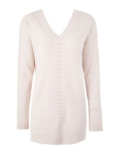 Topshop Wool-Blend Knit Sweater-LIGHT PINK-UK 14/US 10