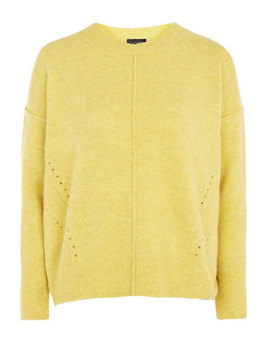 Topshop Stretch Pointelle Sweater-YELLOW-UK 6/US 2