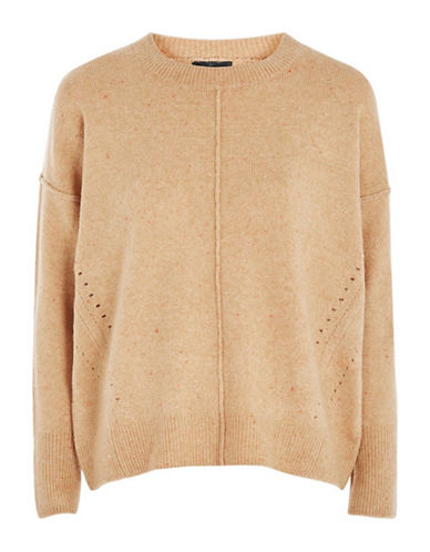 Topshop Stretch Pointelle Sweater-CAMEL-UK 6/US 2