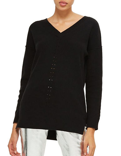 Topshop Knitted Pointelle Sweater-BLACK-UK 12/US 8