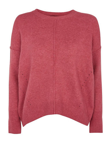 Topshop Stretch Pointelle Sweater-RASPBERRY-UK 8/US 4