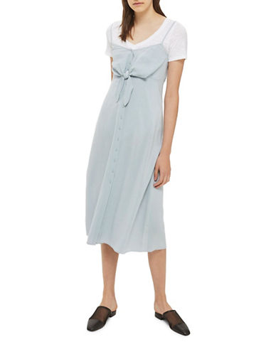 Topshop Molly Midi Dress-LIGHT BLUE-UK 14/US 10
