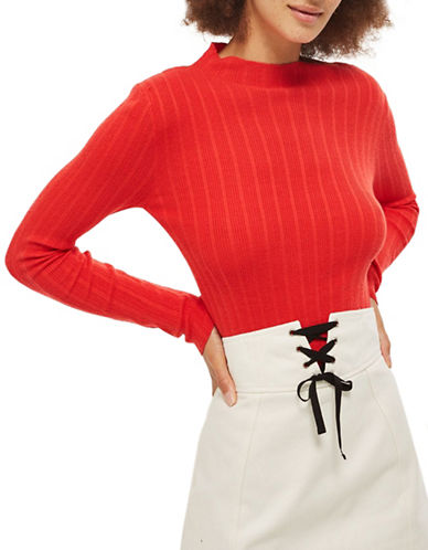 Topshop Ribbed Funnel Neck Popper Detail Top-ORANGE-UK 14/US 10