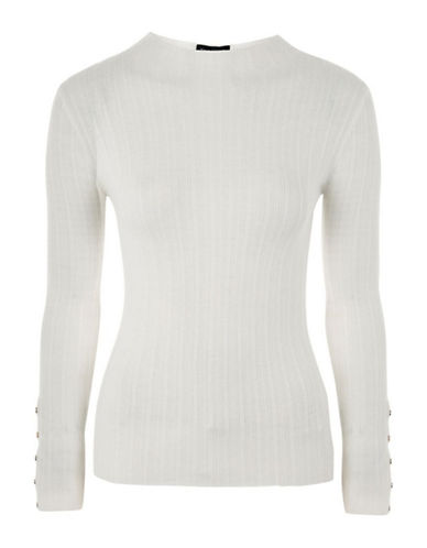 Topshop Ribbed Funnel Neck Popper Detail Top-IVORY-UK 12/US 8