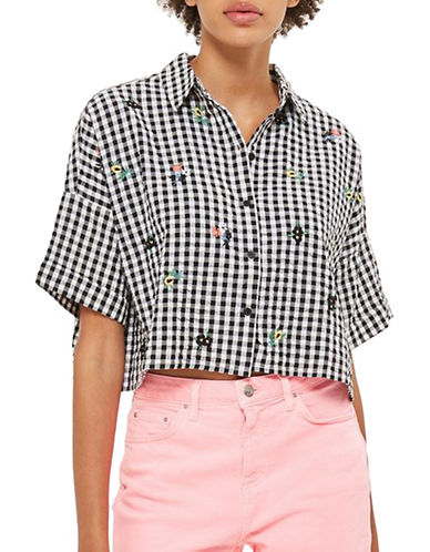 Topshop PETITE Gingham Embroidered Crop Top-MONOCHROME-UK 6/US 2