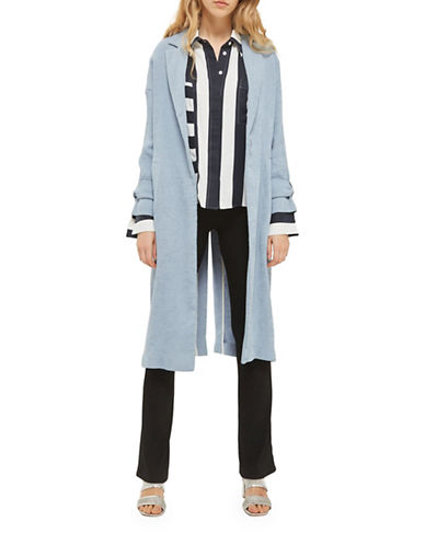 Topshop Plisse Duster Coat-LIGHT BLUE-UK 8/US 4