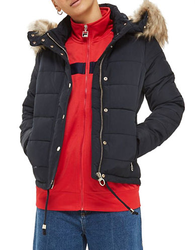 Topshop Quilted Puffer Jacket-NAVY BLUE-UK 14/US 10