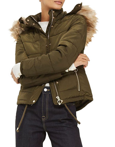 Topshop Quilted Puffer Jacket-KHAKI-UK 12/US 8