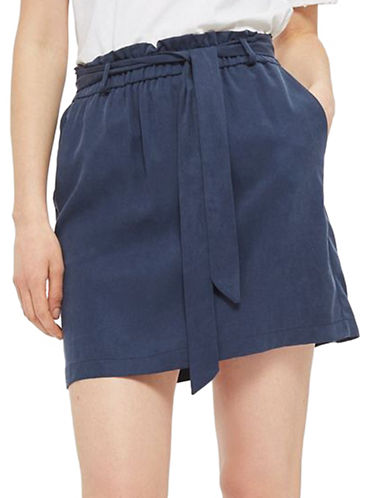 Topshop Paperbag Tie Mini Skirt-NAVY BLUE-UK 10/US 6