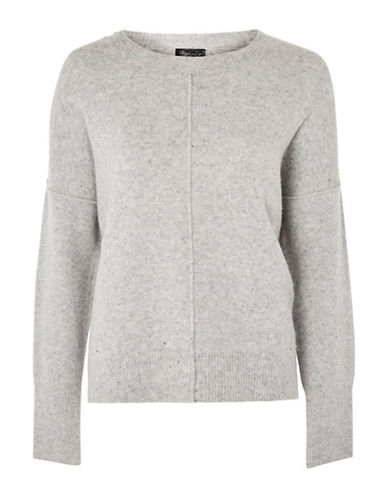 Topshop PETITE Pointelle Sweater-GREY MARL-UK 12/US 8