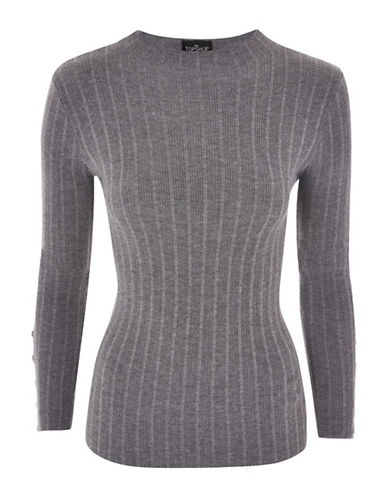 Topshop Ribbed Pullover-CHARCOAL-UK 12/US 8