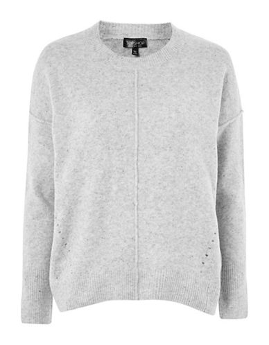 Topshop TALL Pointelle Sweater-GREY MARL-UK 12/US 8