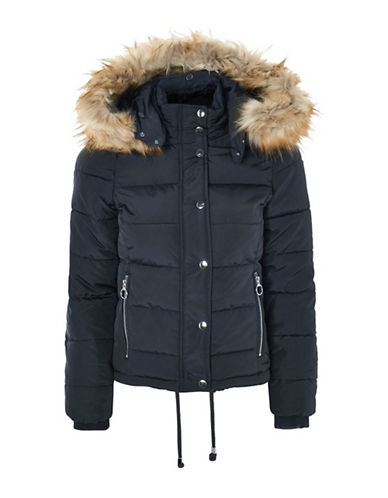 Topshop TALL Nancy Puffer Jacket-NAVY-UK 12/US 8