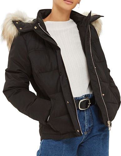 Topshop Quilted Puffer Jacket-BLACK-UK 12/US 8