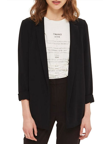 Topshop Soft Blazer-BLACK-UK 12/US 8