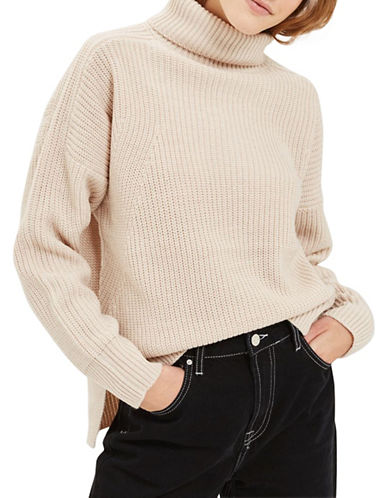 Topshop Boxy Ribbed Sweater-OATMEAL-UK 8/US 4