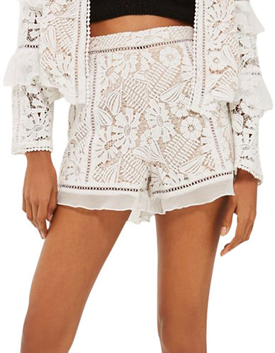 Topshop Lace Frill Shorts-IVORY-UK 14/US 10