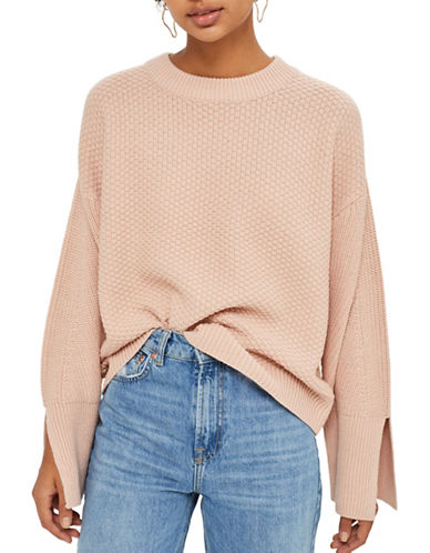 Topshop Knitted Wide Sleeve Top-NUDE-UK 6/US 2