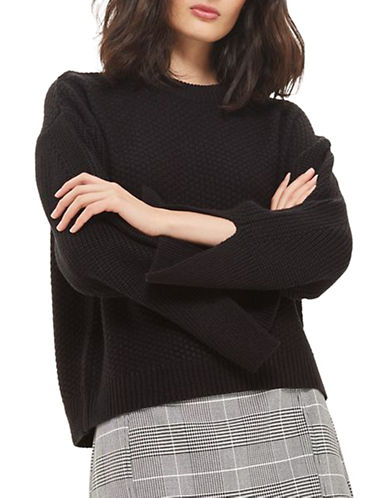 Topshop Moss Stitch Wide Sleeve Sweater-BLACK-UK 12/US 8