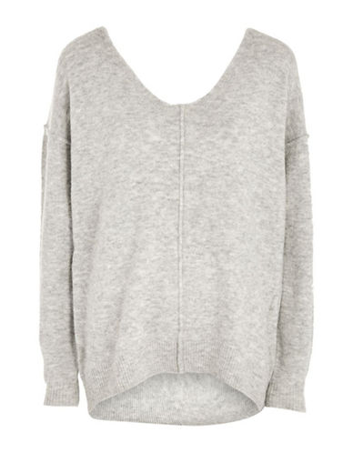 Topshop Longline Sweater-GREY MARL-UK 14/US 10