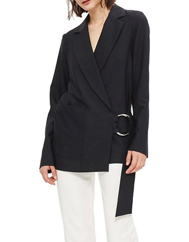 Topshop Ring Belt Jacket-INDIGO-UK 8/US 4