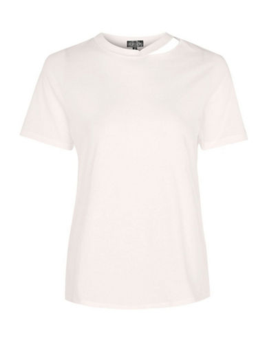 Topshop PETITE Choker Neck Slash T-Shirt-PINK-UK 8/US 4