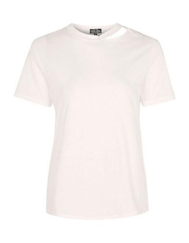 Topshop PETITE Choker Neck Slash T-Shirt-PINK-UK 4/US 0