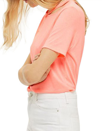 Topshop Choker Neck Slash T-Shirt-BRIGHT PINK-UK 6/US 2