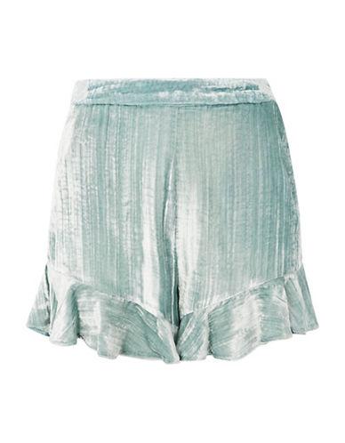 Topshop Velvet Frill Shorts-MINT-UK 12/US 8
