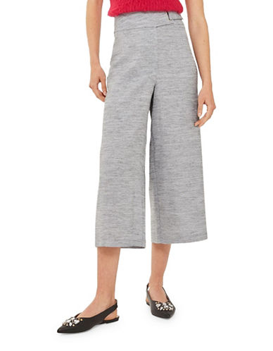 Topshop Belted Crop Wide-Leg Trousers-GREY-UK 16/US 12