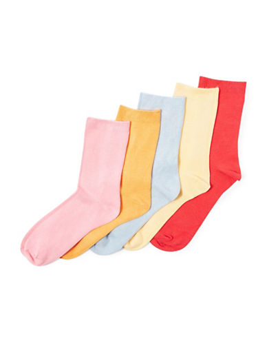 Topshop Five-Pack Ankle Socks-MULTI-One Size