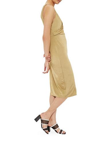 Topshop PETITE Wrap Dress-GOLD-UK 10/US 6