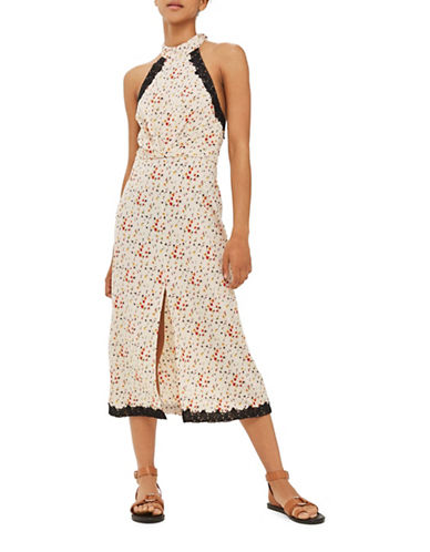 Topshop Lace Ditsy Halter Dress-CREAM-UK 6/US 2