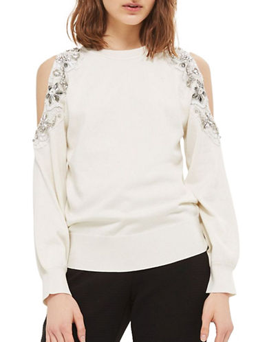 Topshop Embellished Shoulder Sweatshirt-IVORY-UK 6/US 2