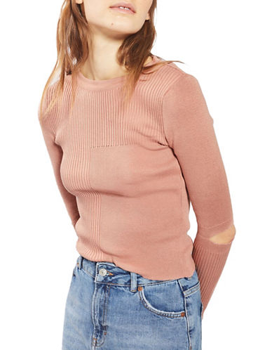 Topshop Spliced Fitted Sweater-DUSTY PINK-UK 8/US 4
