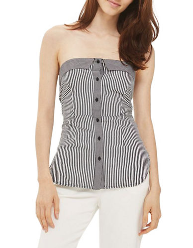 Topshop Knot Front Bandeau Top-MONOCHROME-UK 14/US 10