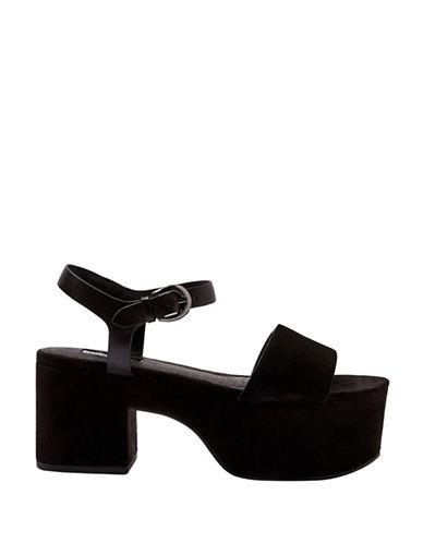 Topshop Vavavoom Suede Platform Sandals-BLACK-EU 38/US 7.5
