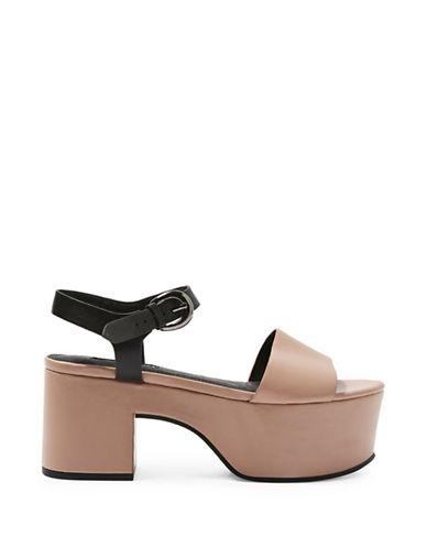 Topshop Vavavoom Flatform Sandals-NUDE-EU 40/US 9.5