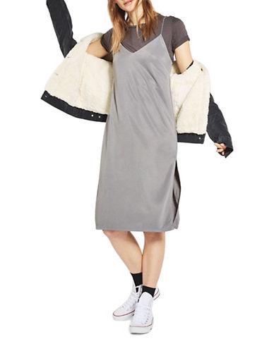 Topshop Midi Slip Dress-GREY-UK 12/US 8