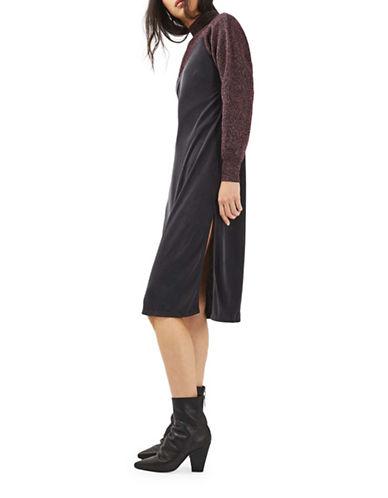 Topshop Midi Slip Dress-BLACK-UK 8/US 4