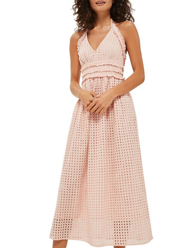 Topshop Broderie Halter Midi Dress-PINK-UK 8/US 4